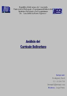 diagnostico del sistema educativo bolivariano On diseno curricular educativo