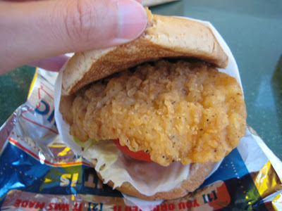 Sonic Crispy Chicken Sandwich with the hood up