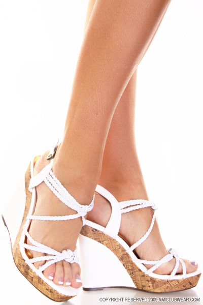 2 Inch White Wedge Sandals Low Wedge Sandals