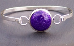Sparkly Mauve Polymer Clay Bead Bangle
