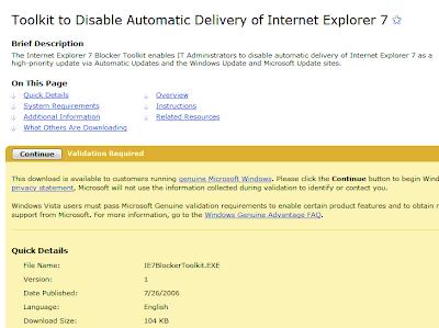 Jak zamezit automatické instalaci Internet Exploreru 7 - IE7 blocker