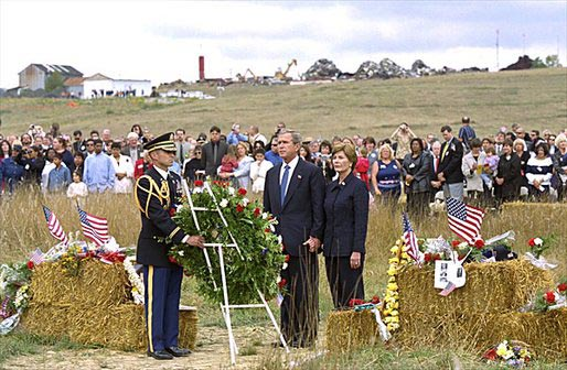 President and Mrs. Bush participate in a wreath-laying ceremony in Shanksville for the victims of Flight 93 on the one-year anniversary of the crash. White House photo by Tina Hager.