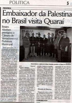 Embaixador da Palestina no Brasil visita Quaraí
