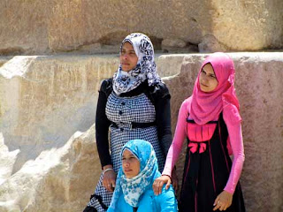 Muslim Women Great Pyramid of Khufu Giza Egypt