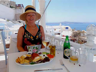 Greek Lunch Food Oia Santorini Greece