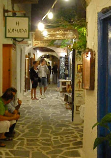 Old Town Chora Night Naxos Greece