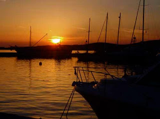 Sunset Fishing Village Naoussa Paros Greek Islands