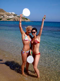 Girls Women Bikini Having Fun Greek Islands Beach Greece