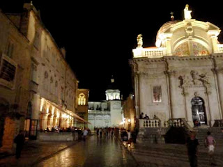 Placa Main Street at Night Dubrovnik Croatia