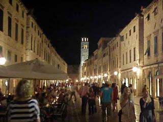 Placa Main Street Night Dubrovnik Croatia