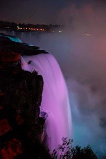 Horseshoe Falls Lit Night Niagara Falls