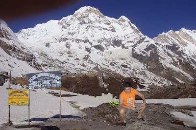The Sherpa guide for Amelia and Guat Ling's trek to Annapurna base camp
