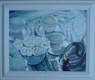 silver teapot painting