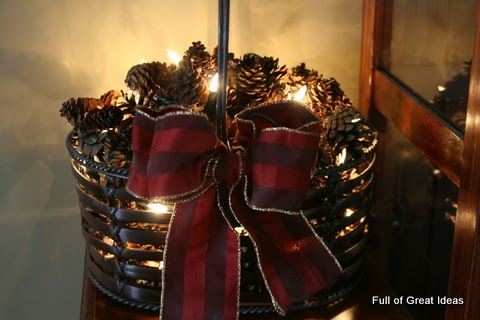 Full Of Great Ideas Pine Cone Basket With Lights
