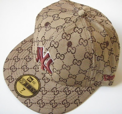 Custom Urban Chic  New Era 59Fifty NY Brown Gucci Fitted Hat size 7 ... 778ace12fcd