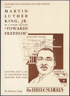 A poster featuring an illustration of Martin Luther King Jr., from the shoulders up, in front of a bus, a map of Montgomery, Alabama, and a government building. The text advertises a 1962 lecture by Dr. King being held at Dartmouth College.