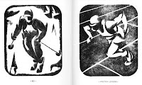 Two black and white image of athletes, one a skier and one a runner.