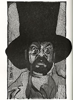 A woodcut illustration of a bearded man with eyeglasses and a top hat.
