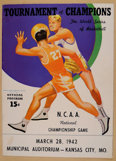 A poster advertising the 1942 N.C.A.A. national championship game.