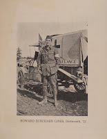 A photograph of Howard Buchard Lines in uniform, standing in front of an ambulance car.