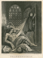 An illustration showing Victor Frankenstein standing in a doorway, looking with alarm at his creature, a muscular, nude man reclining on the floor over a skeleton.