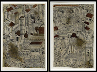 Two pages of woodcuts, showing many figures among a cityscape.