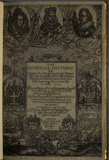 """A heavily engraved title page for """"The Generall Historie."""""""