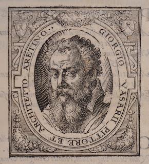 A woodcut portrait of Vasari.