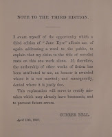 "A printed note on the third edition of ""Jane Eyre."""
