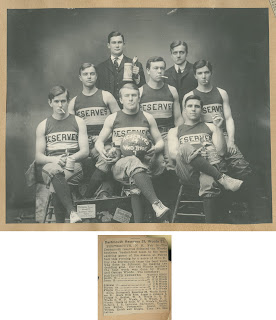 A black and white group photograph for a basketball team, accompanied by a newspaper clipping.