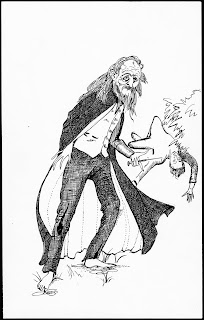 A stylized illustration of an older, bearded man, cloaked but barefoot. In his hand is a syringe. A figure is laying haphazardly on his back in the background.