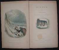 "The title page and frontispiece for 'Winter,"" including two color illustrations of winter scenes."