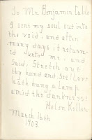 A handwritten note, signed by Helen Keller.