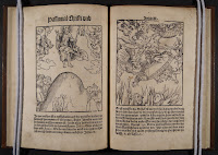 A pair of illustrated facing pages from the text. The woodcut on the left shows Christ ascending to Heaven, while on the right, the Pope descends to Hell.