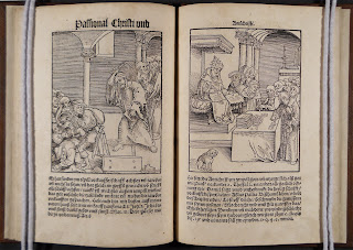 Two facing pages from Passional Christi und Antichristi. The woodcut on the left shows Christ driving merchants from the temple with a whip. The page on the left shows a woodcut of the Pope seated with indulgences.