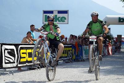 Wheelie on the Transalp Challenge 2006 Finish Line