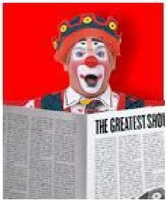 clown reading newspaper