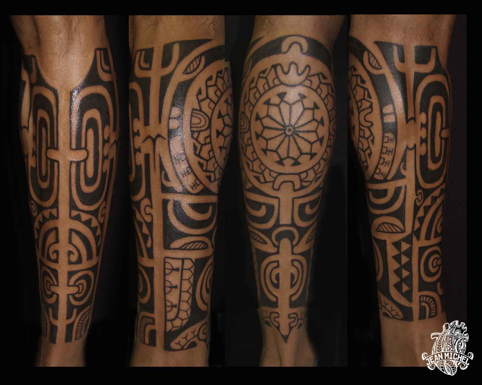 Photo Tatouage tribal maori sur le mollet d'un homme