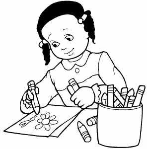 Dibujos para pintar: Alumna dibujando una flor.