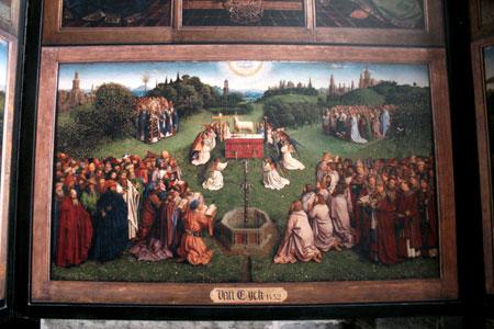 Detalhe da pintura de  Jan van Eyck - 1432