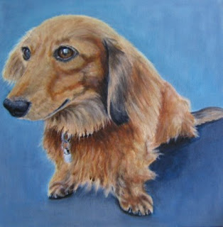 Indigo Blah: LONG-HAIRED DACHSHUND original portrait painting