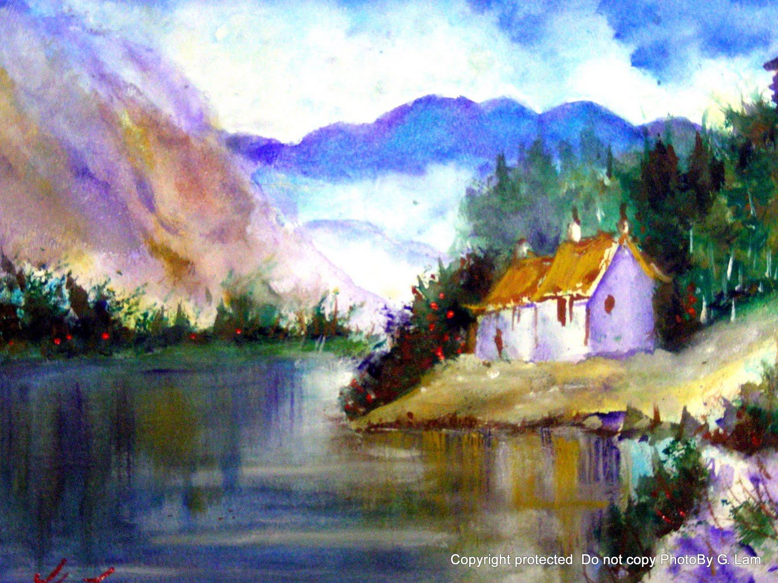 Artscanyon Gallery: Two Watercolor Landscape Paintings
