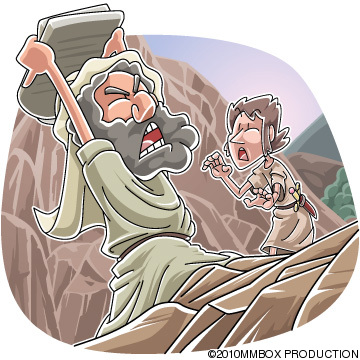 Today's Christian clip art: Moses' anger broke the tablets