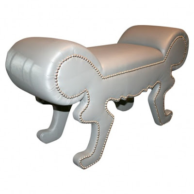 Custom Leather Furniture on Custom Grey Leather Bench With Nickel Nailheads