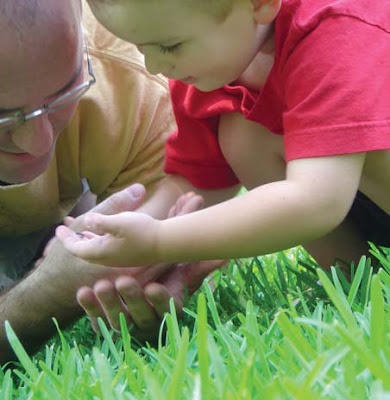 NAMC montessori method importance of toddler parent interaction dad and son in grass