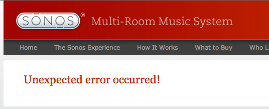 Sonos.com Unexpected error occurred.