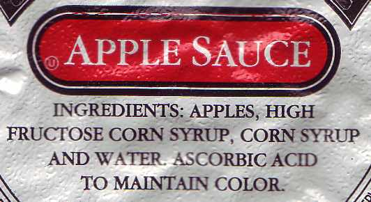 Apples, High Fructose Corn Syrup, Corn Syrup, and Water.