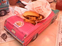 Kid's burger in a Chevy
