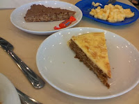Almond cake in front, Daim cake with candy in back