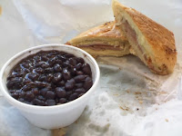 Cuban sandwich with black beans & rice